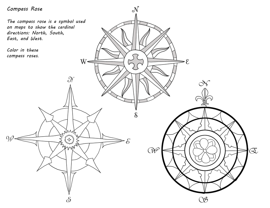 Free Compass Rose Coloring Page - Bltidm