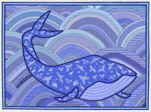 Japanese Whale in a Yukata Ocean