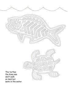 mola fish, marine turtle coloring page