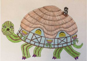 Turtle with Tudor style cottage as shell